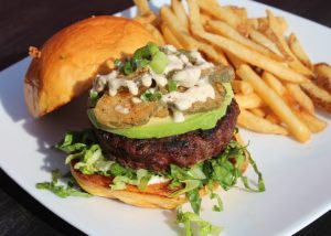 Avocado Burger with Fried Pickles and French Fries