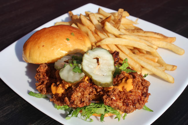 Fried Chicken Sandwich with American Cheese, Pickles and French Fries